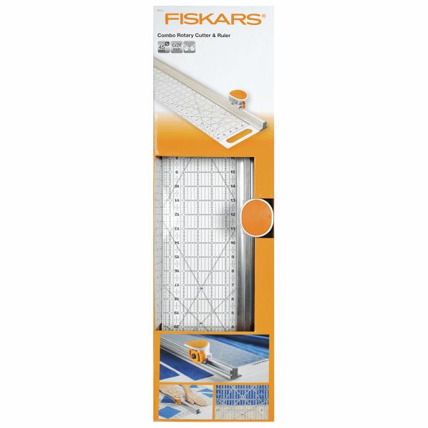 Fiskars Rotary Cutter & Ruler Combo: 45mm Diameter: 15 x 61cm